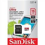 Sandisk 16GB Ultra MicroSD 80MB/sec (Class 10) Micro SDHC